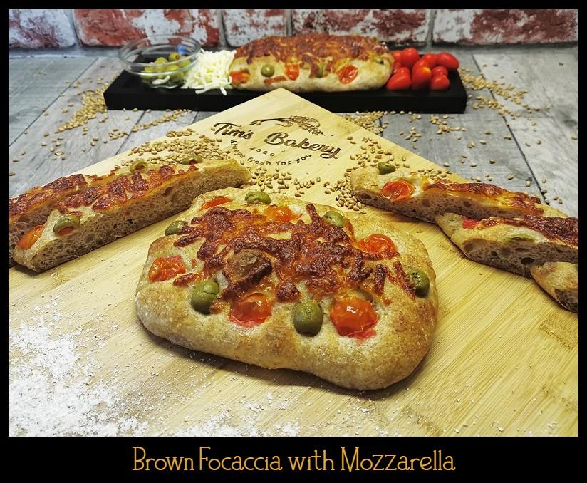 Brown Focaccia with Mozzarella, Cherry Tomatoes & Green Olives