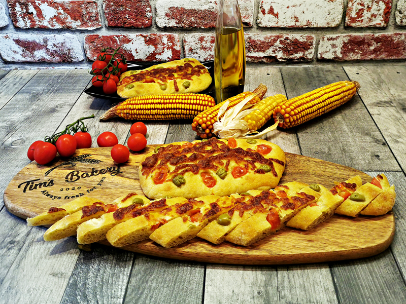 Corn-Focaccia-with-Mozzarella-Cherry Tomatoes-Green-Olives